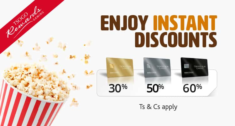 Tsogo Sun Gaming - Earn, Save & Enjoy movies mobile banner with all the discounts