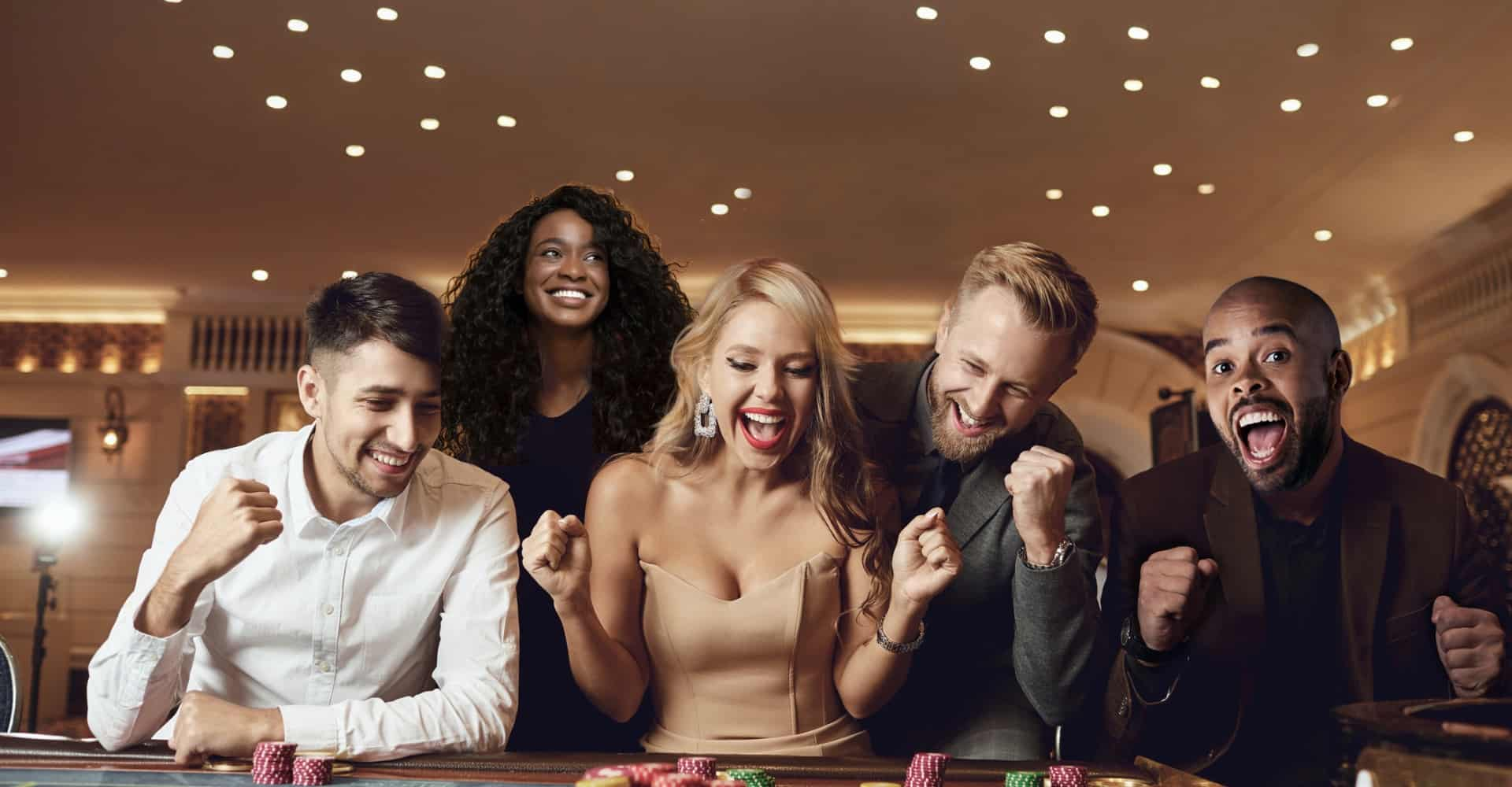 People having fun at the casino table header banner