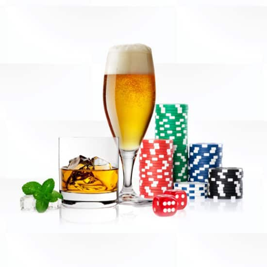 Beer and whiskey and ice with chips on display slider image
