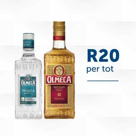 Omeca Tequila two bottles with a price per tot square image